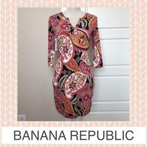 Banana Republic Paisley 3/4 Sleeve Midi Dress
